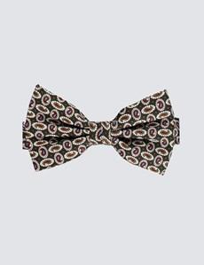 Men's Green & Brown Teardrops Print Ready Tied Bow Tie - 100% Silk