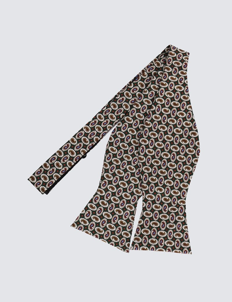 Men's Green & Brown Teardrops Print Self Tie Bow Tie - 100% Silk
