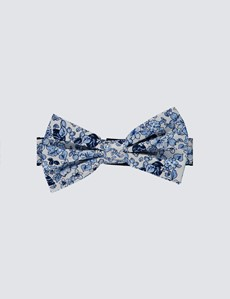 Men's White & Blue Printed Fly Self Tie Bow Tie - 100% Silk