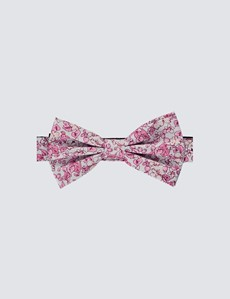 Men's White & Pink Printed Fly Ready Tie Bow Tie - 100% Silk