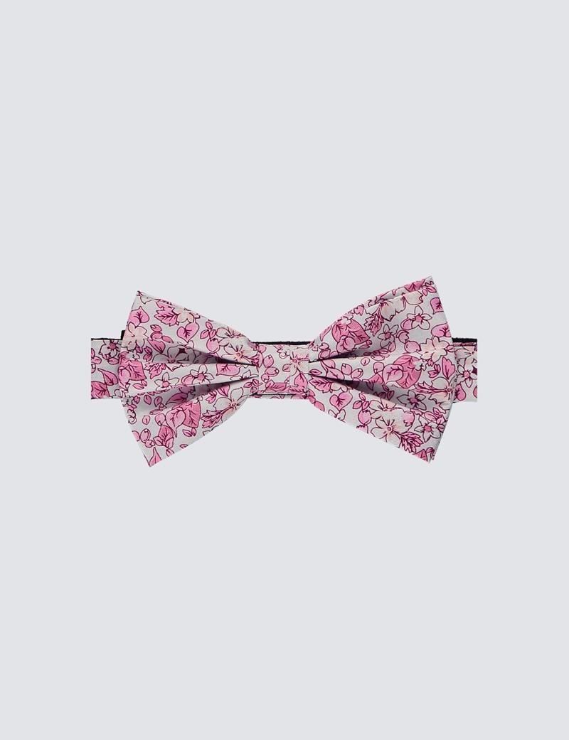 Men's White & Pink Printed Fly Self Tie Bow Tie - 100% Silk