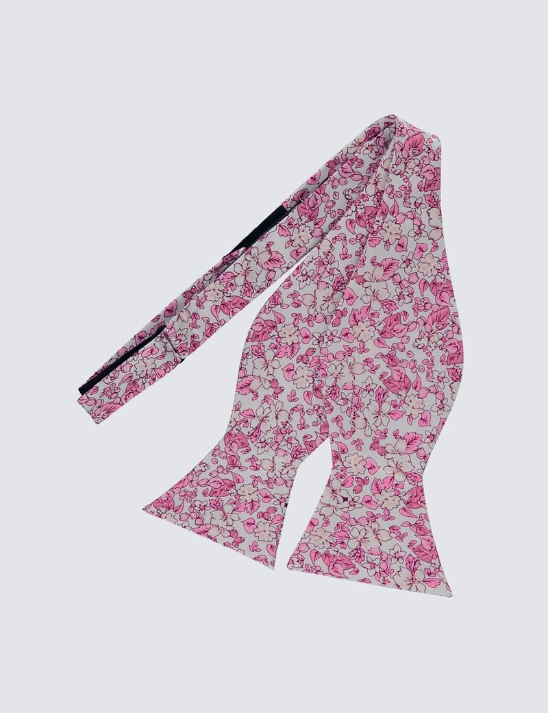 Men's White & Pink Self Tie Bow Tie - 100% Silk