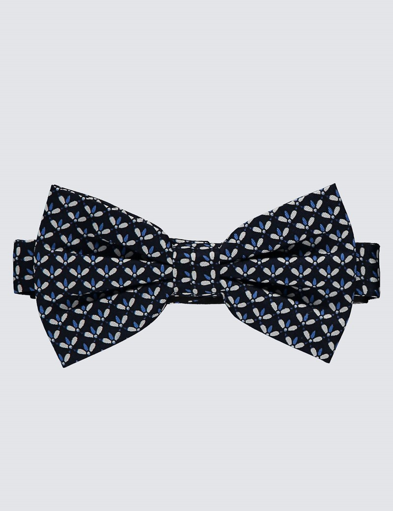 Men's Navy & Blue Printed Fly Ready Tied Bow Tie - 100% Silk