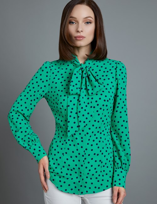 Women's Green & Navy Spot Print Fitted Blouse - Single Cuff - Pussy Bow