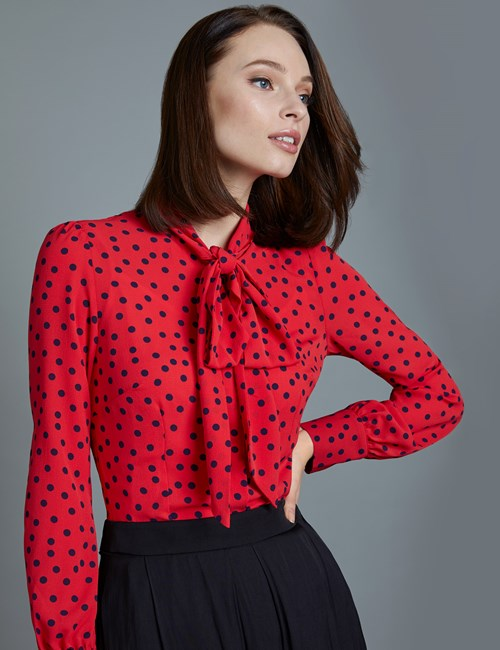 Women's Red & Navy Spot Print Fitted Blouse - Single Cuff - Pussy Bow