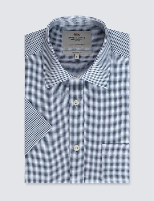 Herrenhemd – Tailored Fit – Kurzarm – Brusttasche – Webmuster blau & weiß