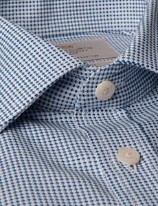 Men's Blue & White Dobby Tailored Fit Business Shirt - Short Sleeve