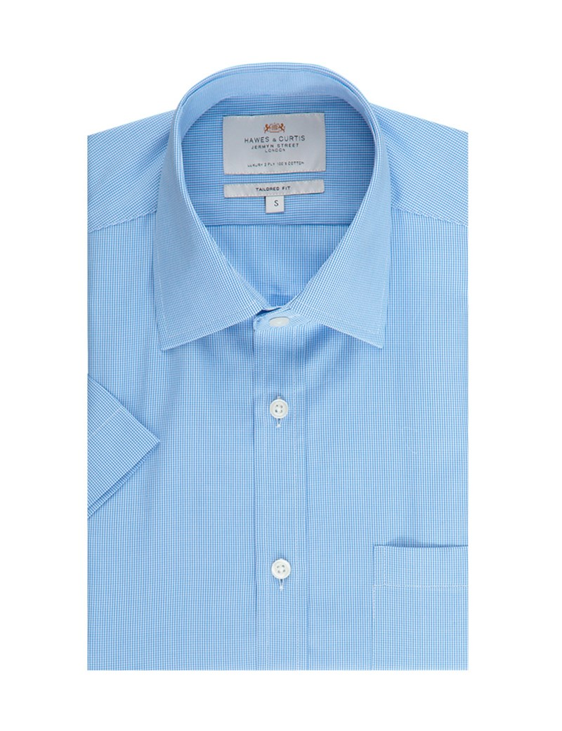 Men's  Blue & White Small Check Tailored Fit Short Sleeve Business Shirt - Easy Iron