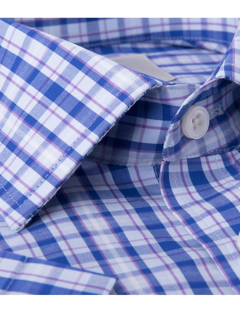 Men's Blue & Purple Multi Plaid Tailored Fit Short Sleeve Shirt - Easy Iron