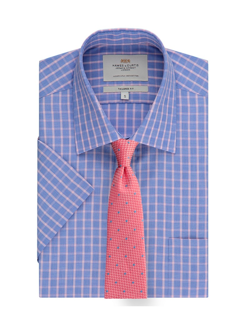 Men's Blue & Pink Multi Plaid Tailored Fit Short Sleeve Shirt - Easy Iron
