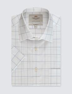 Men's White & Navy Large Plaid Tailored Fit Shirt - Short Sleeve