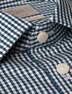 Men's Formal Navy & White Gingham Plaid Tailored Fit Shirt - Short Sleeve