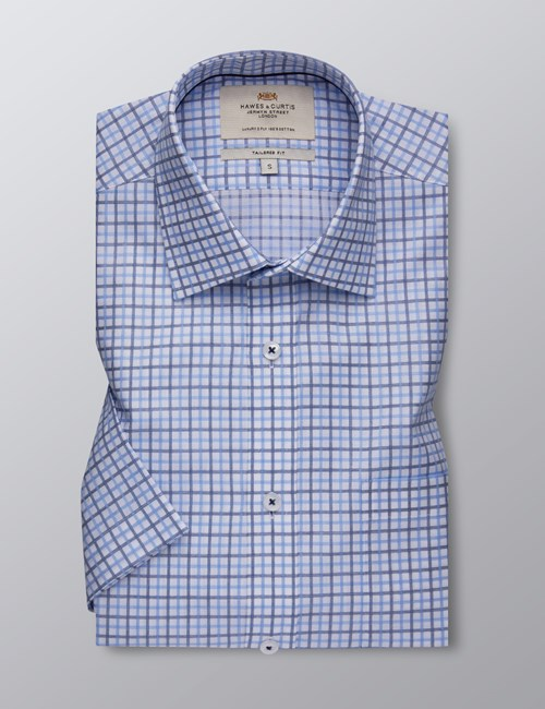 Men's Formal Navy & Blue Multi Check Tailored Fit Shirt - Short Sleeve