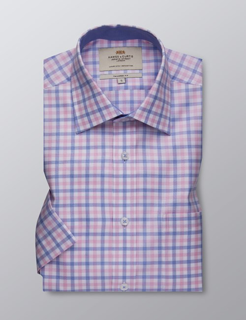 Men's Dress Blue & Pink Multi Plaid Tailored Fit Shirt - Short Sleeve
