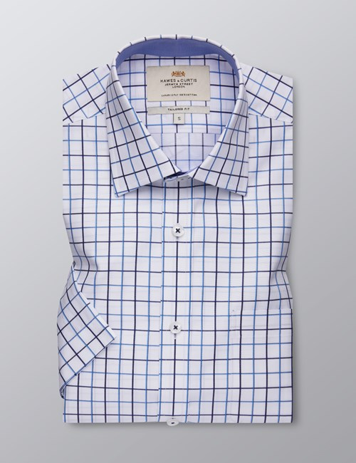 Men's Dress Navy & Blue Grid Plaid Tailored Fit Shirt - Short Sleeve