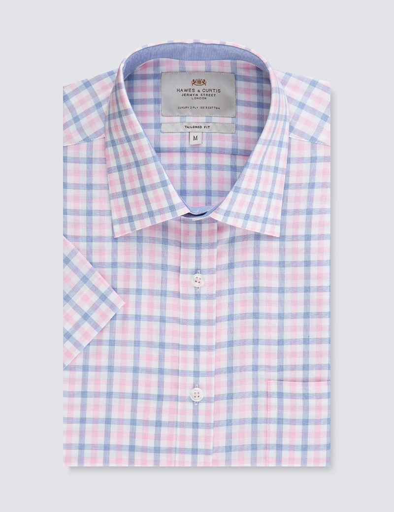 Men's White & Pink Multi Plaid Tailored Fit Short Sleeve Shirt