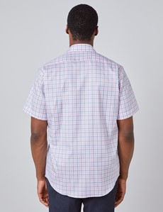 Men's White & Pink Multi Check Tailored Fit Short Sleeve Shirt
