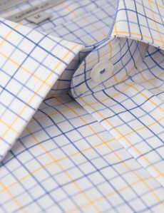 Men's Blue & Yellow Multi Plaid Tailored Fit Short Sleeve Shirt