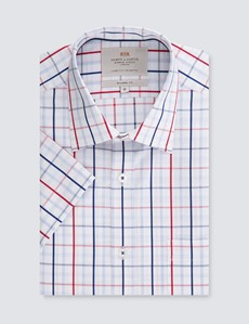 Men's Navy & Red Multi Plaid Tailored Fit Short Sleeve Shirt