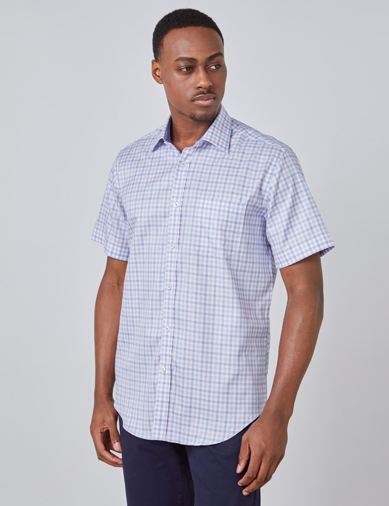 Men's Purple & Blue Multi Check Tailored Fit Short Sleeve Shirt