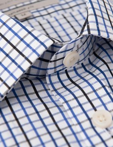 Men's Navy & Blue Multi Plaid Tailored Fit Short Sleeve Shirt