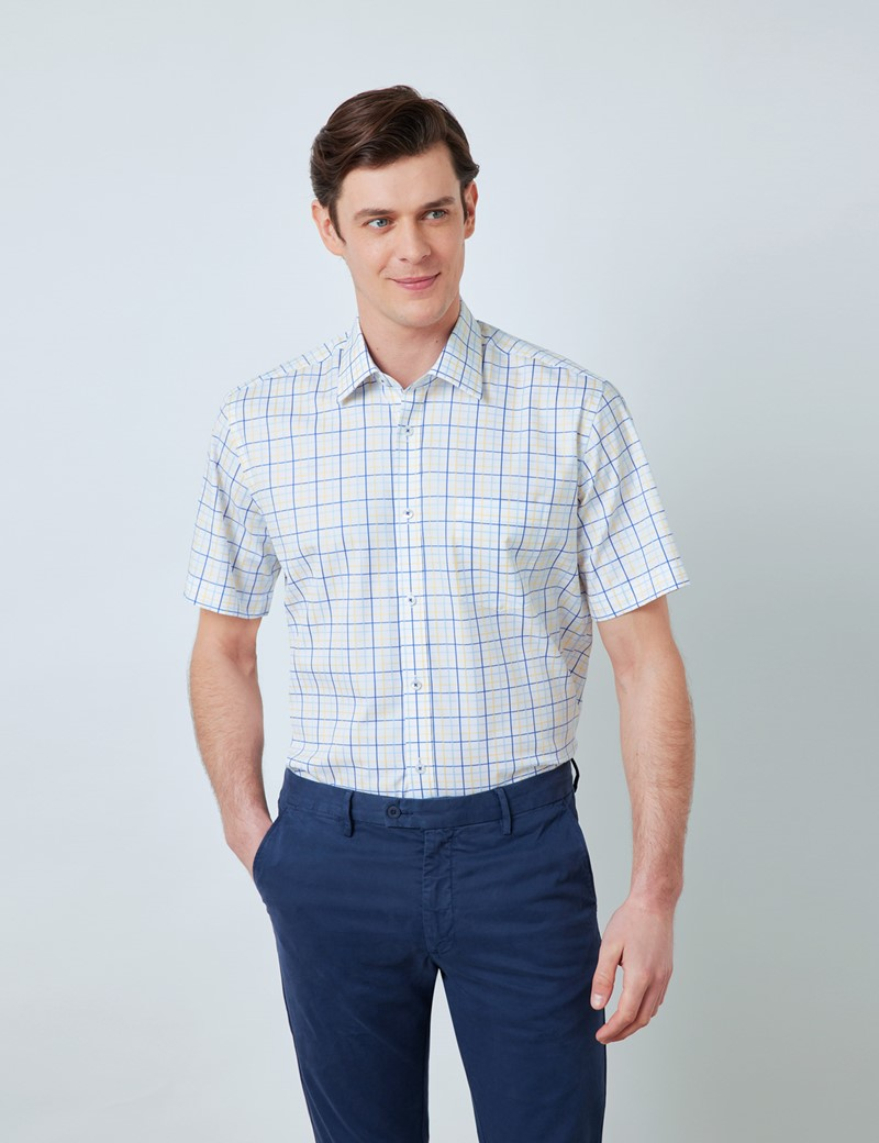 Easy Iron Blue & Yellow Multi Check Tailored Fit Short Sleeve Shirt – Chest Pocket