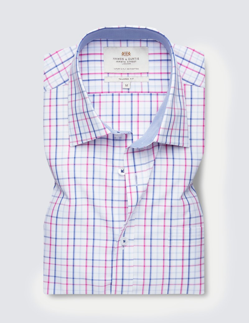 Easy Iron Pink & Navy Multi Check Tailored Fit Short Sleeve Shirt – Chest Pocket