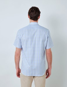 Easy Iron Blue & White Multi Check Tailored Fit Short Sleeve Shirt – Chest Pocket