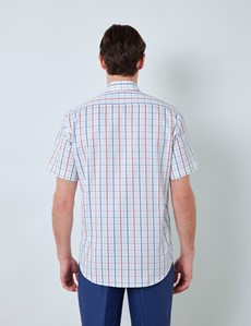 Easy Iron Blue & Red Multi Check Tailored Fit Short Sleeve Shirt – Chest Pocket
