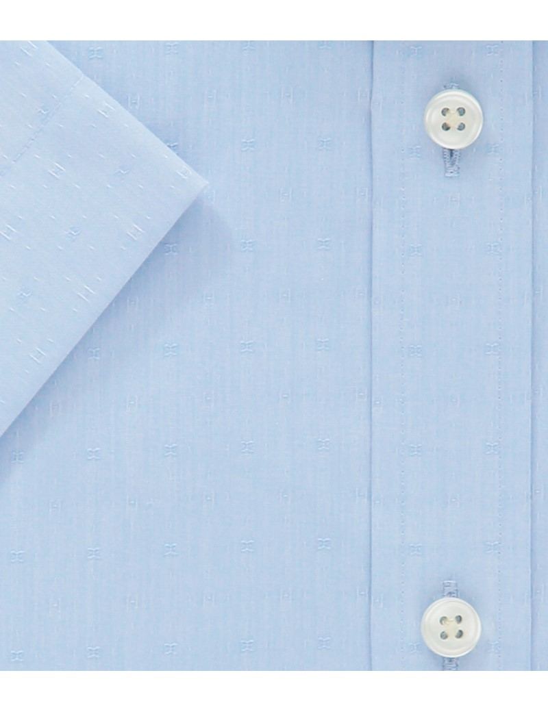 Men's  Blue Tailored Fit Short Sleeve Business Shirt - Easy Iron