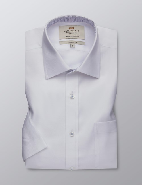 Men's Dress White Fabric Interest Tailored Fit Shirt - Short Sleeve