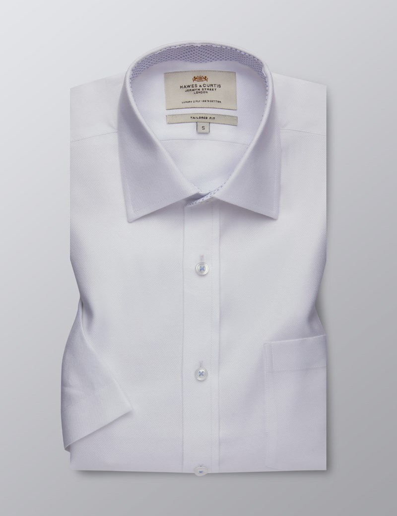 Men's Business White Fabric Interest Tailored Fit Shirt - Short Sleeve