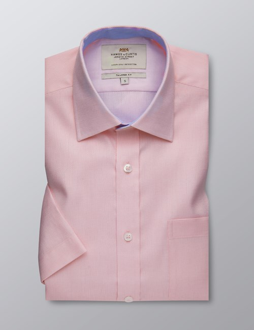 Men's Formal Pink Fabric Interest Tailored Fit Shirt - Short Sleeve