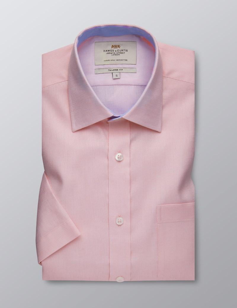 Men's Dress Pink Fabric Interest Tailored Fit Shirt - Short Sleeve