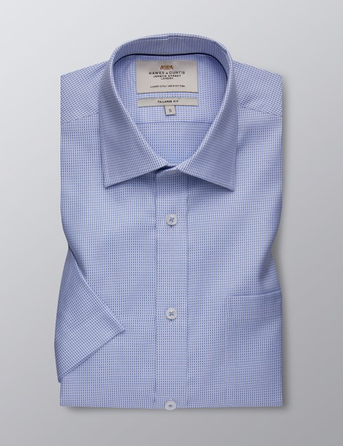 Men's Formal Blue & White Fabric Interest Tailored Fit Shirt - Short Sleeve