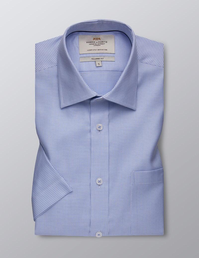 Herrenhemd – Tailored Fit – Kurzarm – Brusttasche – Blau & weiß gemustert