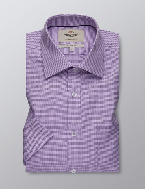 Men's Dress Lilac Fabric Interest Tailored Fit Shirt - Short Sleeve