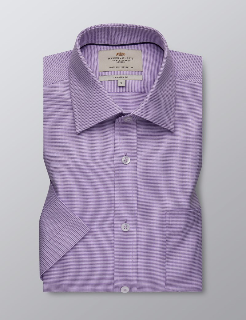 Men's Formal Lilac Fabric Interest Tailored Fit Shirt - Short Sleeve