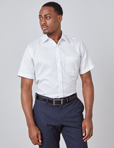 Men's White Tailored Fit Short Sleeve Shirt