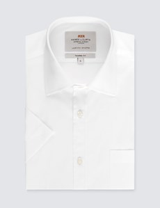 Men's Plain White Tailored Fit Short Sleeve Business Shirt