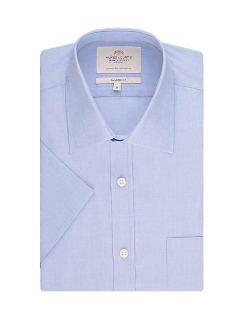 Herrenhemd – Tailored Fit – Kurzarm – End-on-End blau