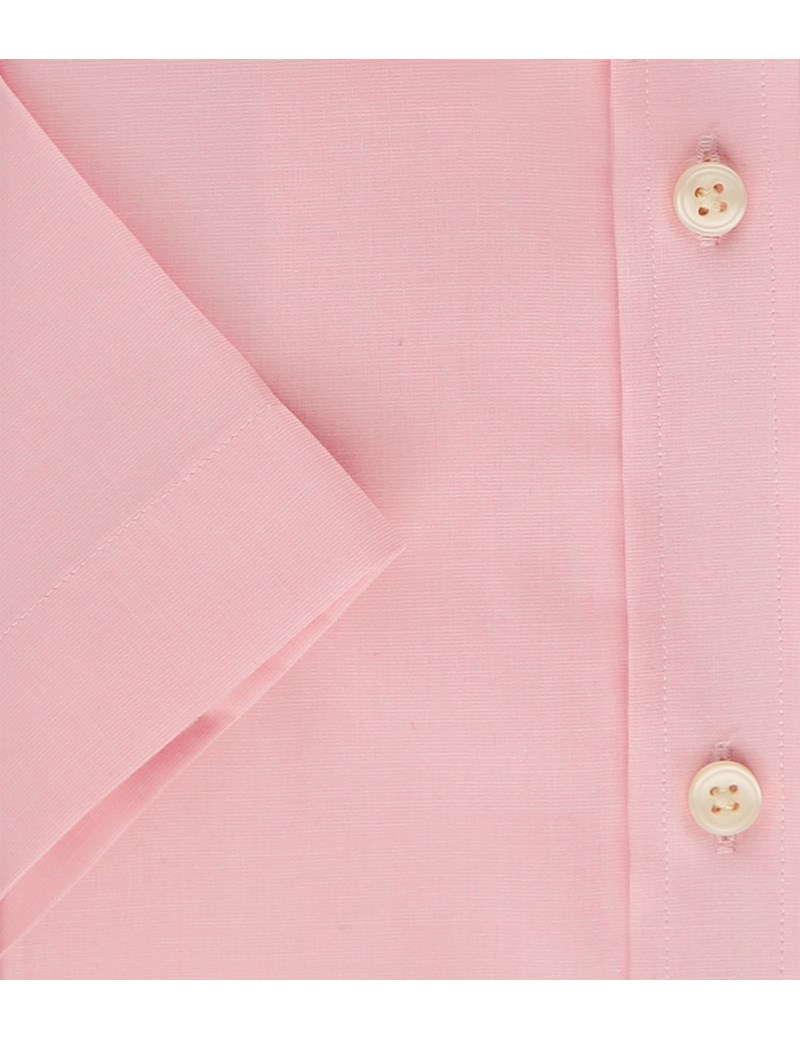 Men's Pink End On End Tailored Fit Short Sleeve Shirt - Easy Iron