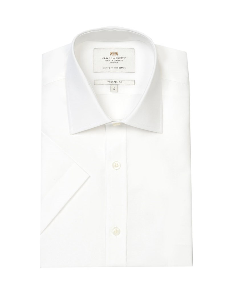 Men's  White End-On-End Tailored Fit Short Sleeve Business Shirt - Easy Iron