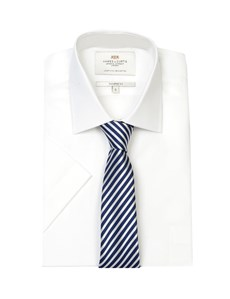 Men's Formal White End On End Tailored Fit Short Sleeve Shirt - Easy Iron