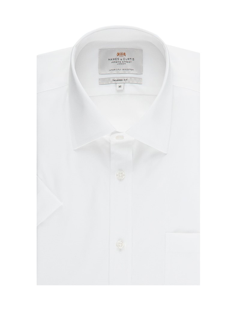 Men's  White End on End Tailored Fit Short Sleeve Business Shirt - Easy Iron