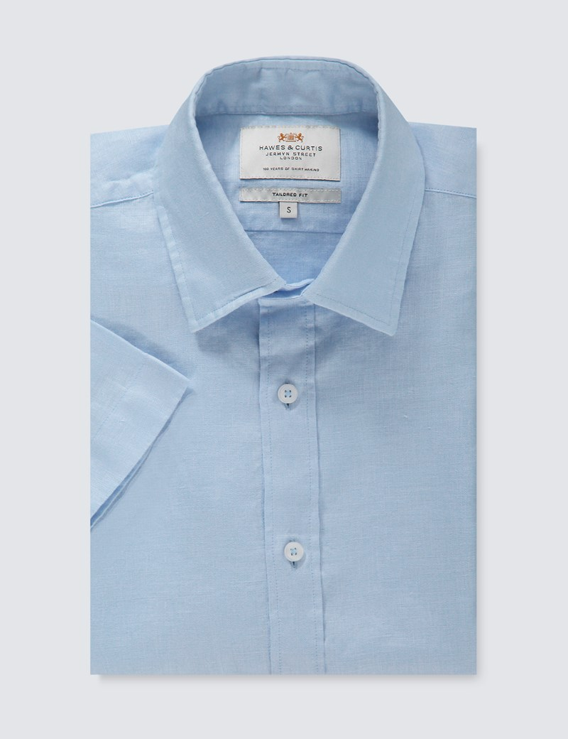 Men's Blue Tailored Fit Short Sleeve Linen Shirt