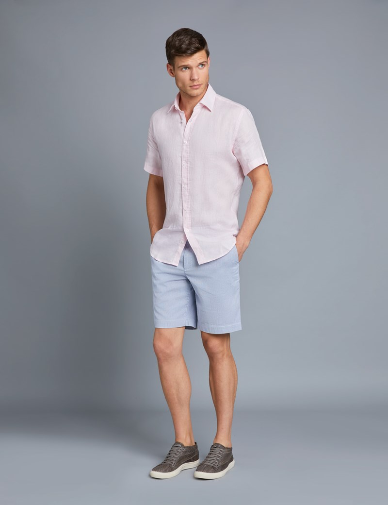 Men's Plain Pink Tailored Fit Short Sleeve Linen Shirt