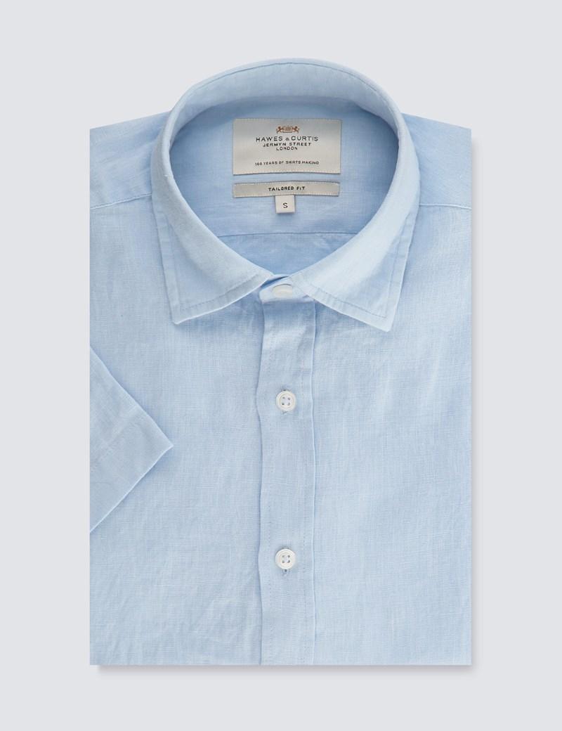 Men's Blue Tailored Fit Short Sleeve Linen Shirt