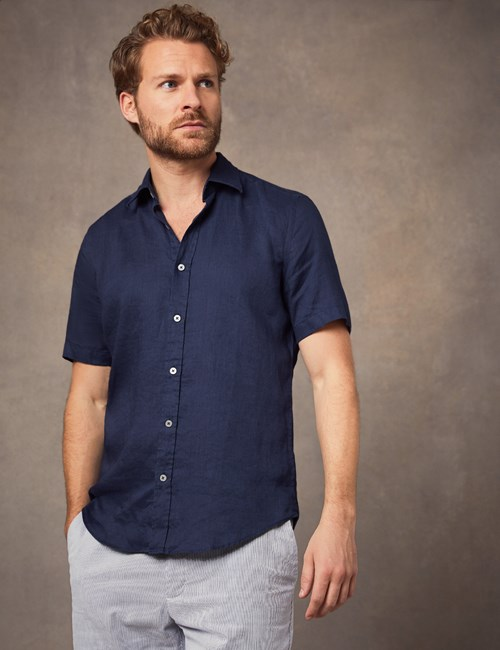 Men's Navy Tailored Fit Short Sleeve Linen Shirt