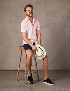 Men's Pink Tailored Fit Short Sleeve Linen Shirt
